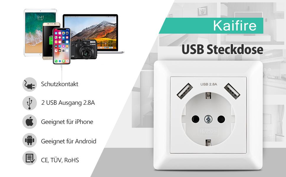 USB Steckdose System 55 Kaifire USB Schuko Wandsteckdose mit 2 USB ...