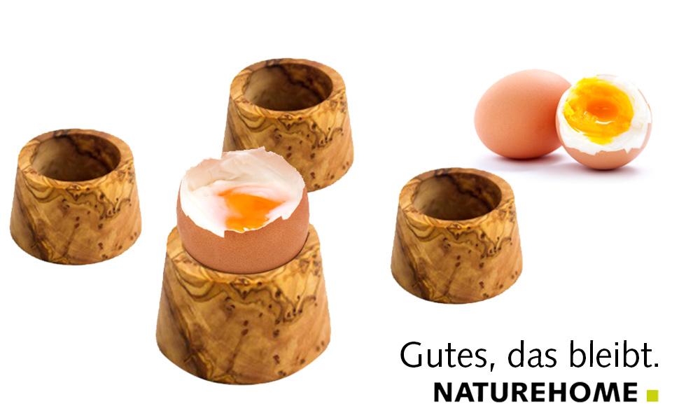 Eierbecher Eierhalter mit Löffel Olivenholz Holz Holzbecher Eier Becher Halter