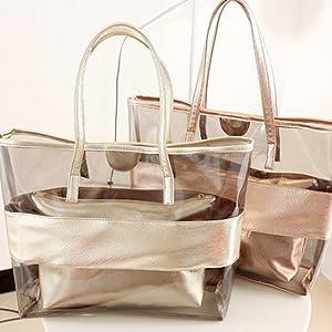 Zicac Damen Handbag 2-Tasche Freizeit Sandstrand Handtasche Durchsichtig Tasche