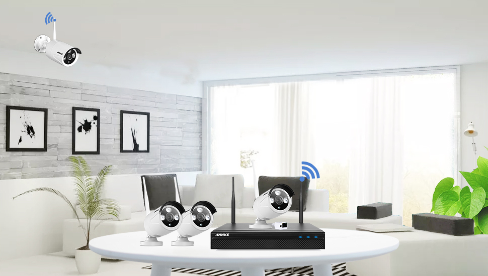 annke wlan berwachungskamera set 960p 4ch wireless berwachungssystem nvr recorder mit 2tb. Black Bedroom Furniture Sets. Home Design Ideas