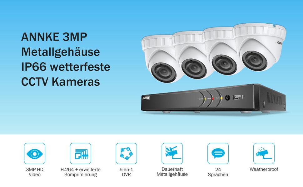 Annke 3mp Überwachungskamera System 4 X 3 0mp Wetterfest Hd Kamera Außen Und 8ch Dvr Mit 1tb Festplatte 3mp Überwachungskamera Set Bewegungsmelder Ir Nachtsicht Baumarkt