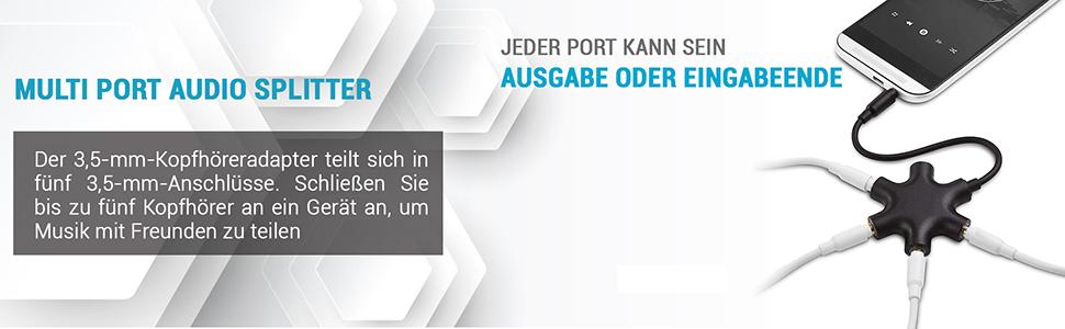 5-FACH AUDIO-SPLITTER 3.5mm KLINKE VERTEILER FÜR KOPFHÖRER 5 FACH Weiß NEU