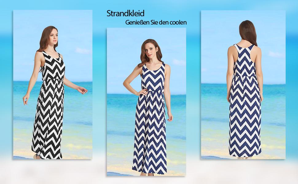 Sommerkleid blau gemustert lang Strandkleid elastisch Cocktailkleid S M L XL