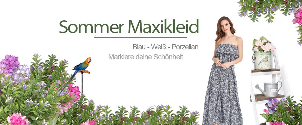 Damen Bohemian Kleid Sommer Maxi Rock Maxilang Kleid Tube Kleid ...