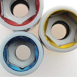 Douilles de protection pour jantes en aluminium.
