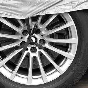 Minuma Autoplane Größe M Für Viele Autos Und Modelle Geeignet Mit Gummizug Im Saum Und Sicherheitsschnalle Für Wind Autogarage Abdeckplane Für Winter Sommer Einfache Benutzung Farbe Silber Auto
