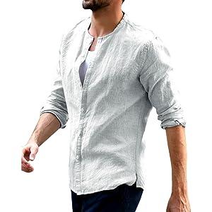 Lueyifs Camisa informal para hombre, manga 3/4, camisa de verano, informal, corte regular