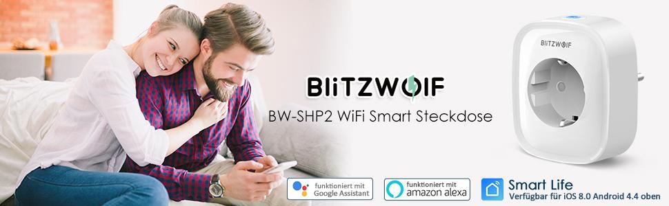 WiFi Steckdose, BlitzWolf Smart Stecker intelligente WLAN Home Steckdose  Kein Hub Erforderlich + App Steuerung mit Timing Funktion kompatibel mit