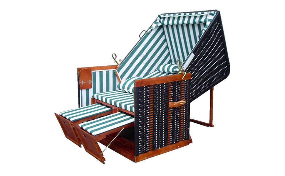Premium Strandkorb Schutzh/ülle /& 4x Kissen gr/ün-gestreifter Stoff Terrassen Strandkorb inkl braunes Holz Form Nordsee Strandkorb XINRO/® XY-02