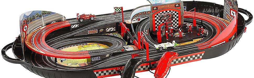 Playtastic Autorennbahn: Portable Rennbahn im Koffer