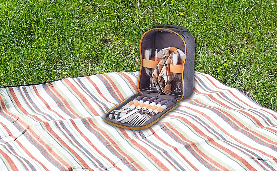 Camping Besteck Set Tasche Picknick-Besteck-Set f/ür 4 Personen PEARL Campingbesteck: 22-tlg mit Salz-//Pfefferstreuer