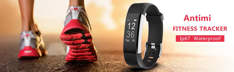 Antimi Fitness Armband, Wasserdicht IP67 Fitness Tracker, Pulsuhren, Schrittzähler
