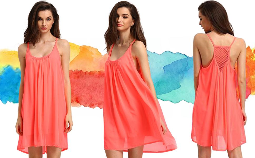Rückenfrei leicht transparent Neckholder Top Mini Kleid Dress Cover up pink rosa