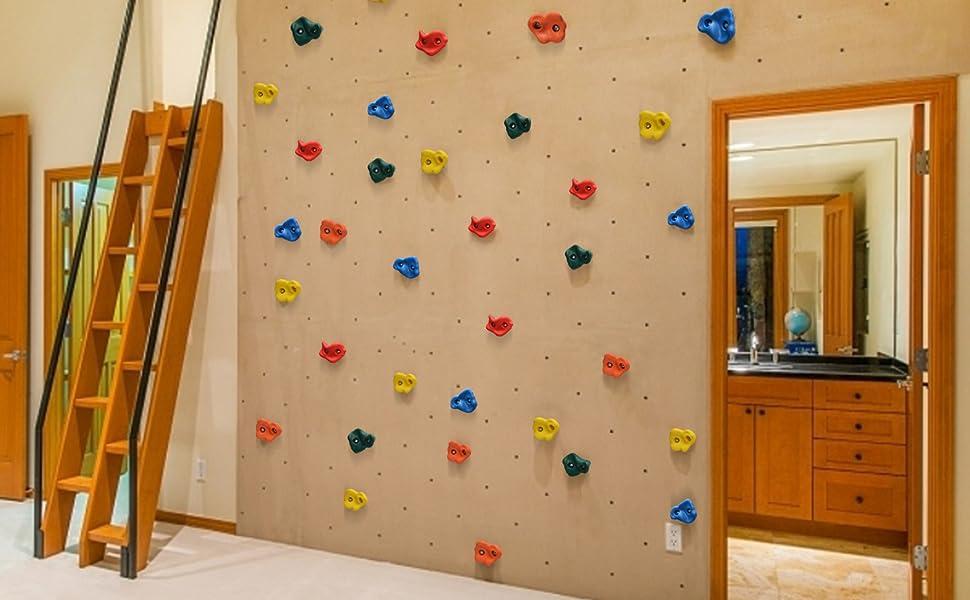 Odoland - Juego de 20 mangos de escalada para niños, incluye material de fijación con tornillos