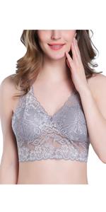 Intimate Portal Mujer Moda-Kozy Sujetador de Encaje sin Aro Bralette con Bolsillos