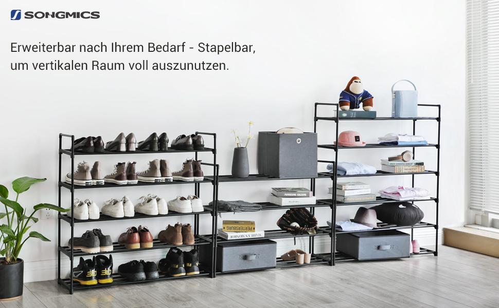schwarz LSA14BK Flur und Ankleidezimmer Schuhaufbewahrung aus Metall Schuhorganizer f/ür Wohnzimmer 92 x 30 x 73 cm SONGMICS Schuhregal mit 4 Ebenen f/ür bis zu 20 Paar Schuhe
