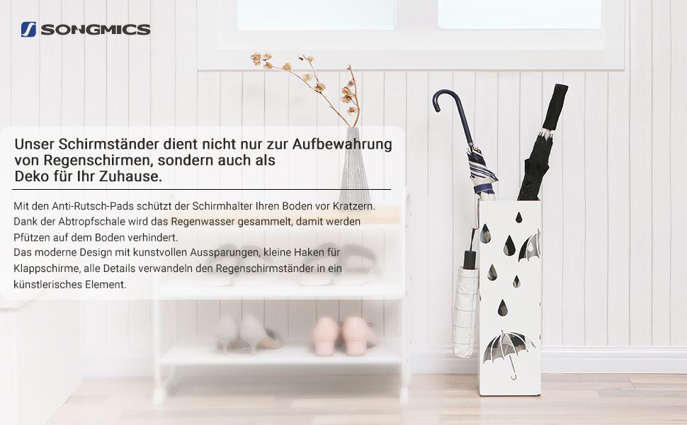 SONGMICS Schirmständer Regenschirmständer Metall Wasserauffangschale ...
