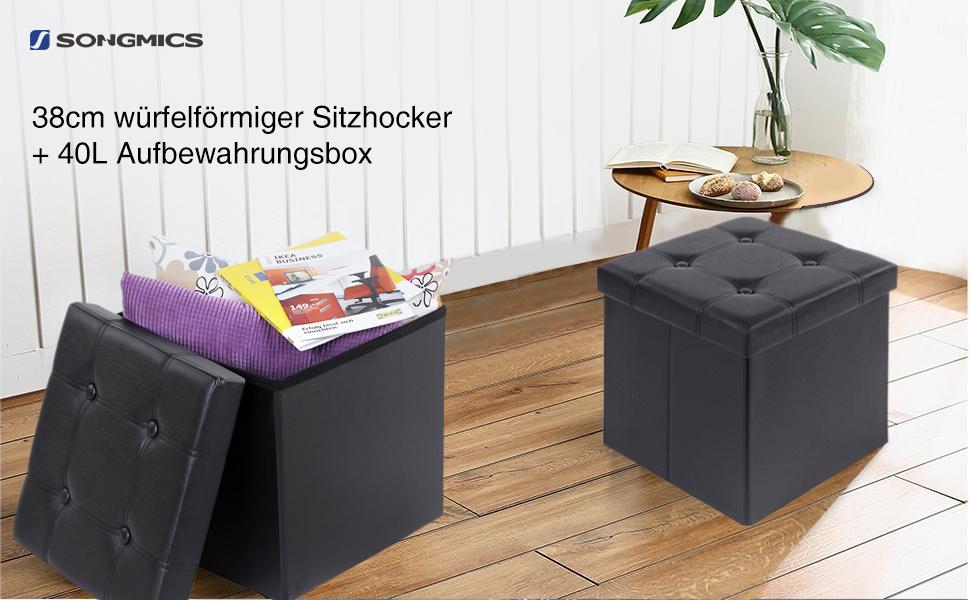 Songmics sitzbank sitzhocker mit stauraum belastbar bis kg