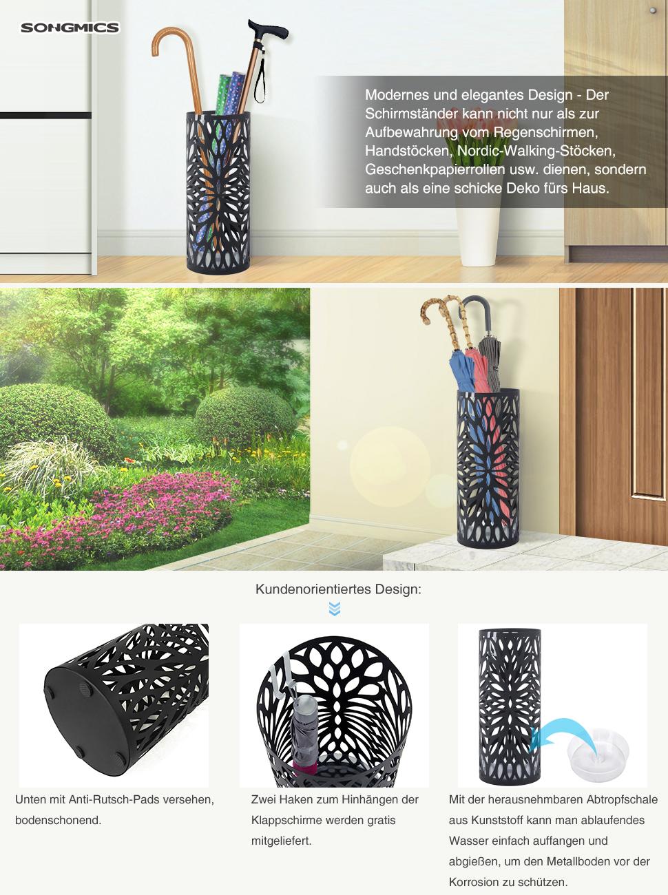 Ideen fur regenschirmstander innendesign bestimmt auswahl  Amazon.de: SONGMICS Regenschirmständer Schirmständer mit ...