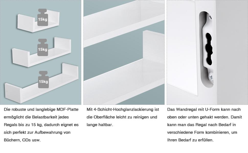 songmics wandregal 3er set schweberegale mdf holz tiefe 15 cm 60 45 30 cm wei u form. Black Bedroom Furniture Sets. Home Design Ideas