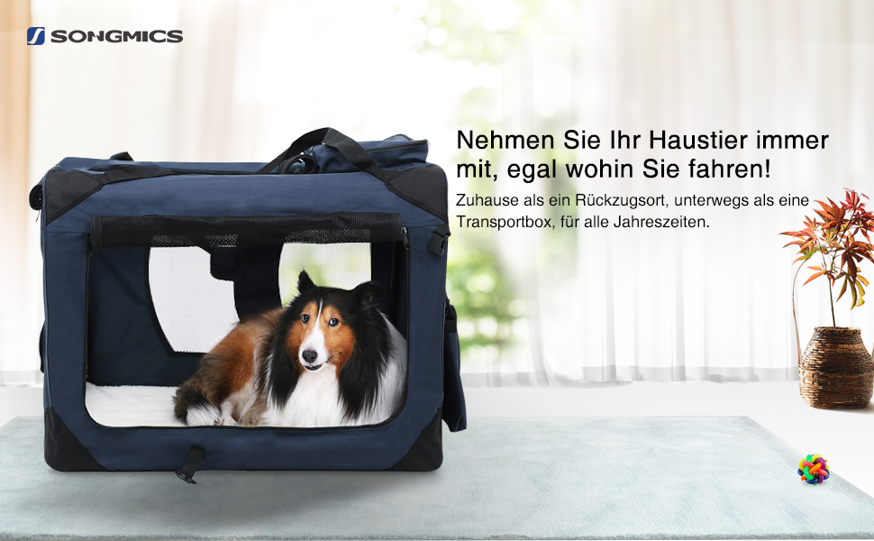 songmics hundebox transportbox auto hundetransportbox faltbar katzenbox oxford gewebe dunkelblau. Black Bedroom Furniture Sets. Home Design Ideas