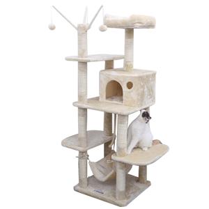 songmics xxl kletterbaum stabiler kratzbaum mit h ngematte h hle spielsisal 154 cm pct86m. Black Bedroom Furniture Sets. Home Design Ideas