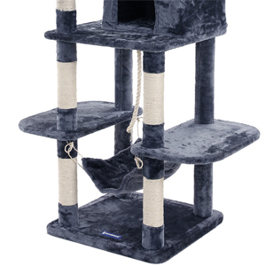 songmics xxl kletterbaum kratzbaum mit h ngematte h hle spielsisal 154 cm pct86g. Black Bedroom Furniture Sets. Home Design Ideas