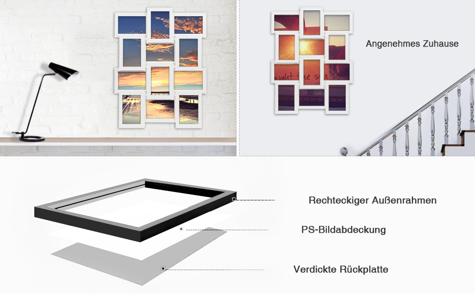Amazon.de: SONGMICS Bilderrahmen Collage für 12 Fotos je 10 x 15 cm ...