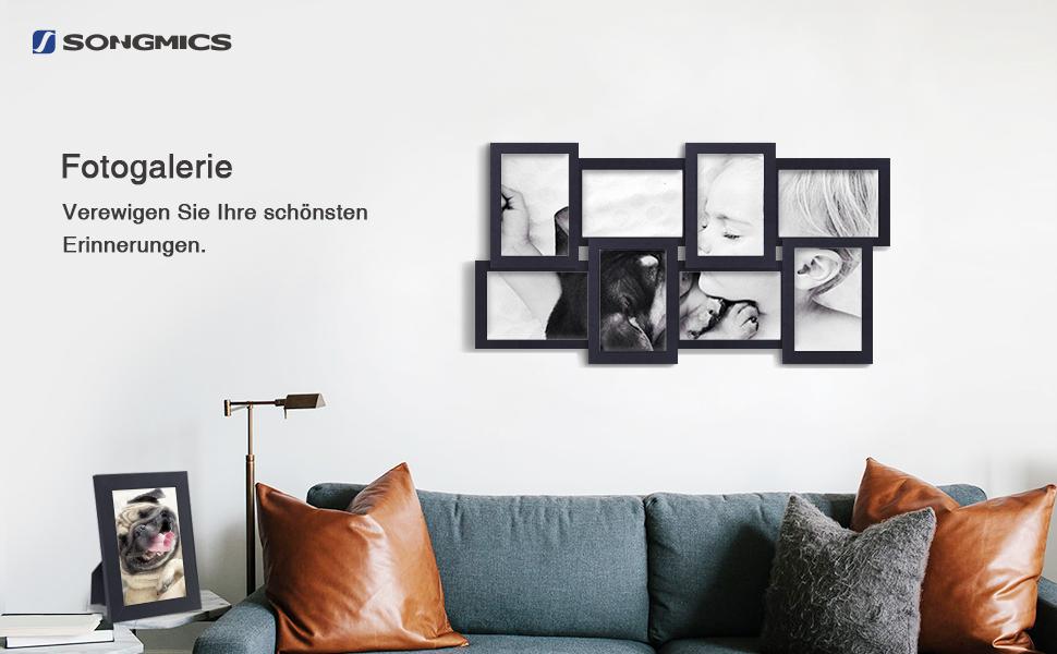 SONGMICS Bilderrahmen Collage für 8 Fotos je 10 x 15 cm (4 x 6) + 1 ...