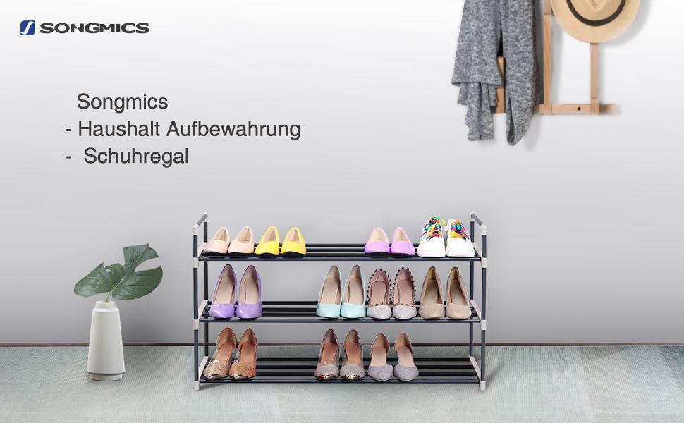 Schuhe Aufbewahren Wenig Platz songmics schuhregal schuhständer mit 3 ablagen für bis zu 15 schuhe