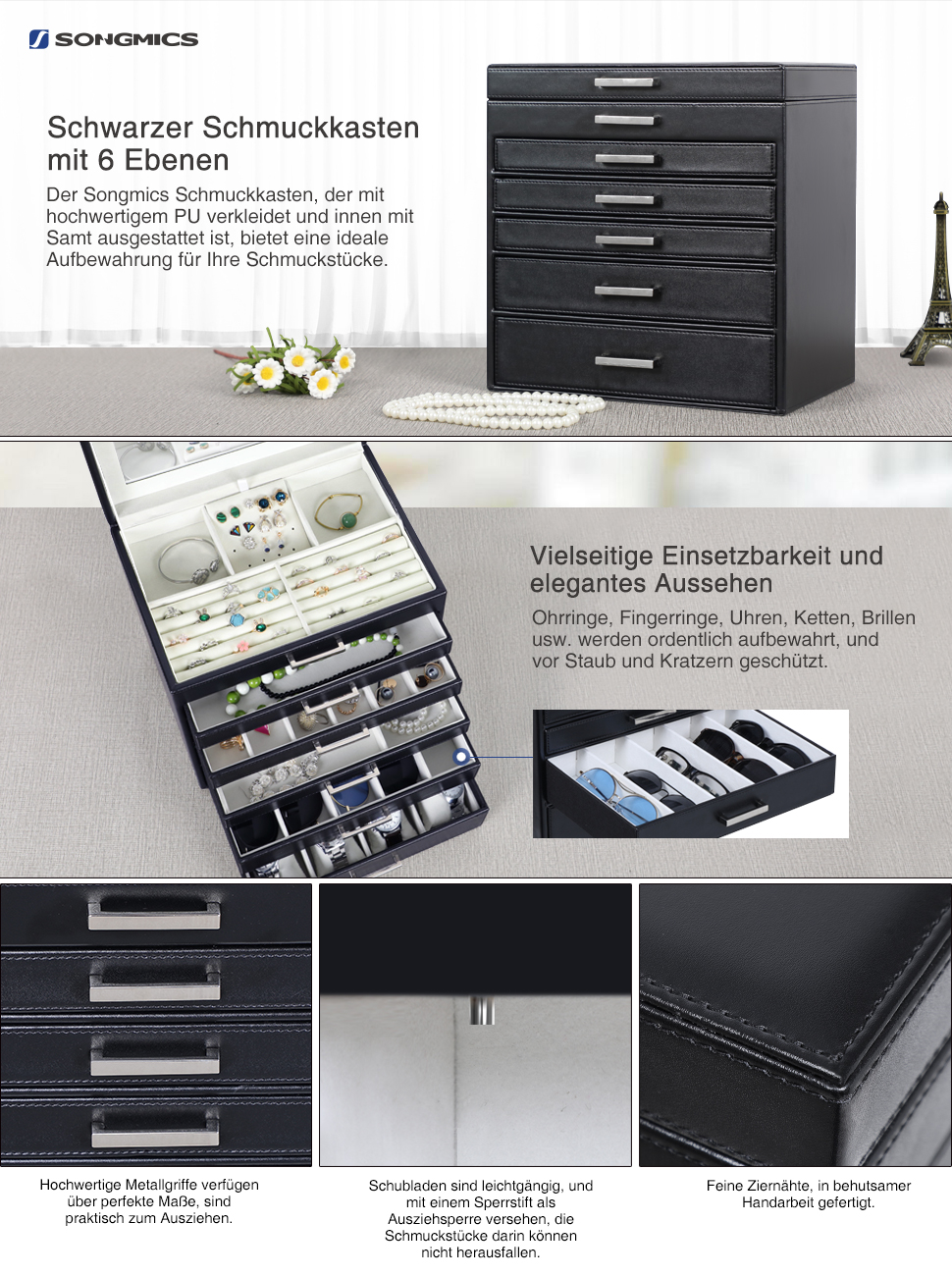 songmics schmuckkasten schmuckaufbewahrung 6 ebenen mit 5 schubladen spiegel. Black Bedroom Furniture Sets. Home Design Ideas