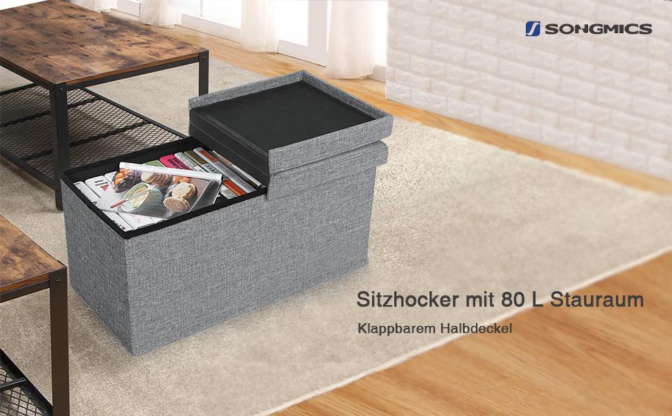 songmics sitzbank 80 l sitzhocker mit stauraum halbdeckel seitlich klappbar 76 x 38 x 38. Black Bedroom Furniture Sets. Home Design Ideas