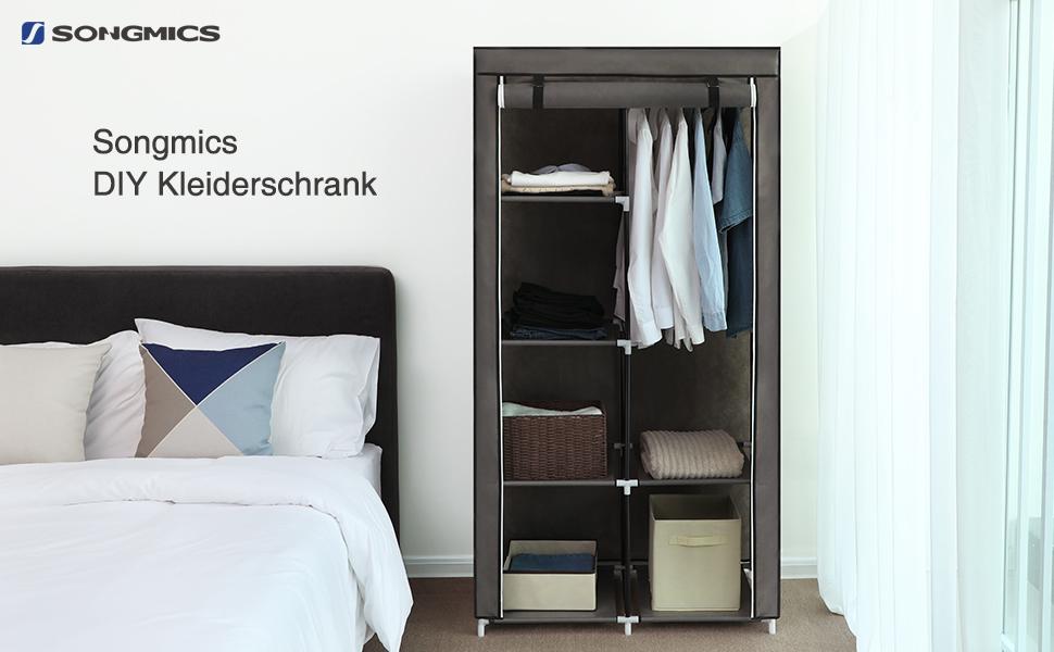 songmics xl kleiderschrank stoffschrank faltschrank mit 2 kleiderstange belastbar bis 25. Black Bedroom Furniture Sets. Home Design Ideas