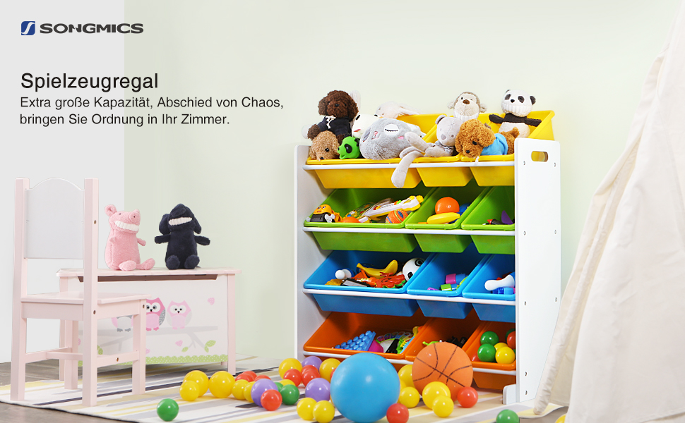 songmics kinderregal kinderzimmerregal spielzeugregal spielzeugaufbewahrung kinder. Black Bedroom Furniture Sets. Home Design Ideas
