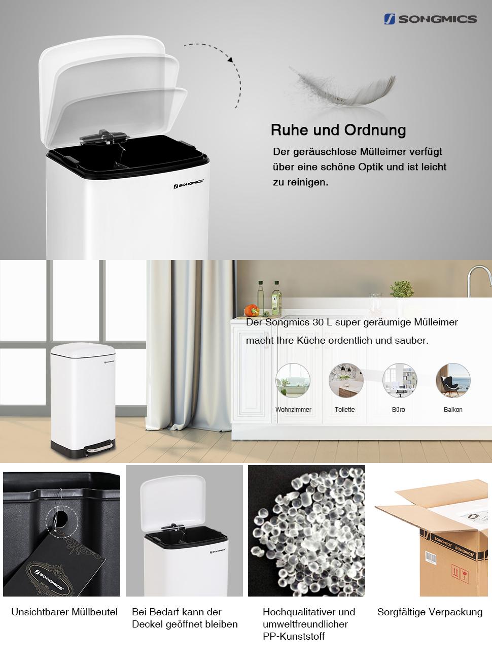 SONGMICS Mülleimer mit Deckel, Abfalleimer für Küche, 30 L Weiß Treteimer  mit Absenkautomatik, Stahl Abfallbehälter, Pedal aus Edelstahl LTB01W
