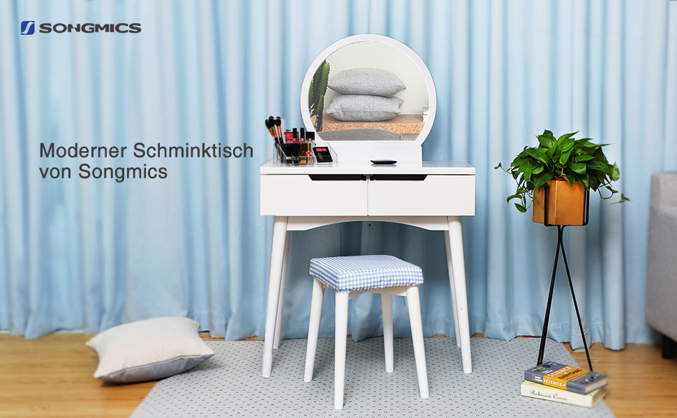 songmics modern schminktisch sunflower 2 grob schubladen mit schienen. Black Bedroom Furniture Sets. Home Design Ideas