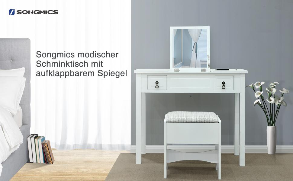 songmics mordern schminktisch mit aufklappbarem spiegel sitzhocker 3 flexibel einsetzbar. Black Bedroom Furniture Sets. Home Design Ideas