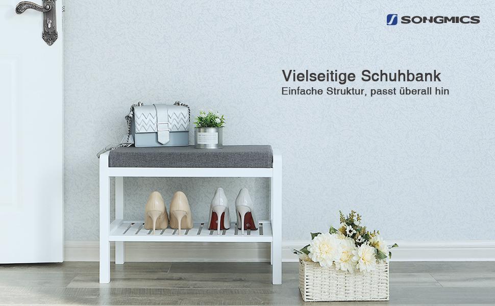 songmics bambus sitzbank schuhschrank mit sitzkissen schuhregal schuhbank mit 2 ablagen f r. Black Bedroom Furniture Sets. Home Design Ideas