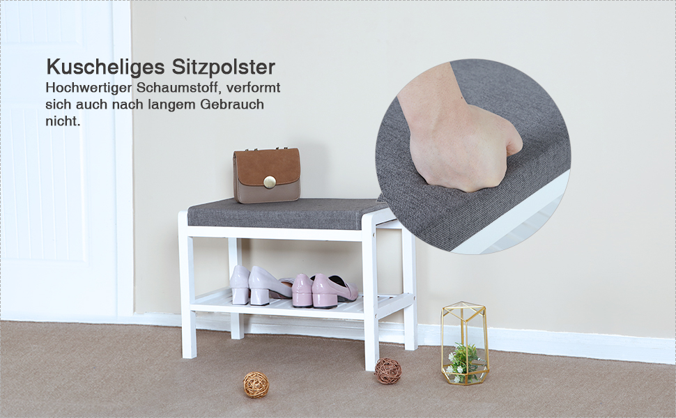 songmics bambus sitzbank schuhschrank mit sitzkissen. Black Bedroom Furniture Sets. Home Design Ideas