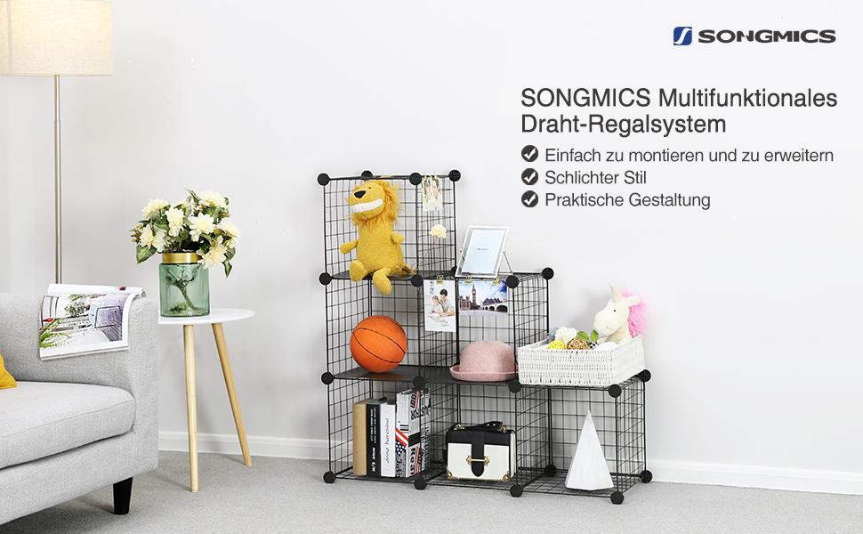 SONGMICS Steckregal aus Drahtgitter individuell aufstellbar Cube ...