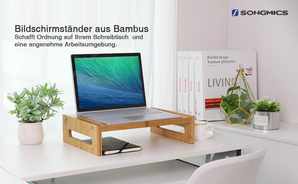 Songmics Bambus Monitorstander Bildschirmstander Laptop