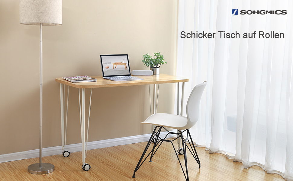 SONGMICS Schreibtisch Mobiler Computer Schreibtisch Mit Rädern, Stabiler  Bürotisch, Arbeitstisch, Bürotisch Für