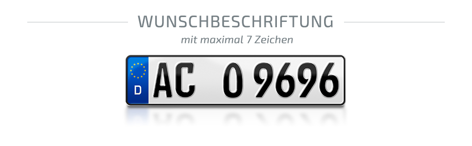 Schildevo 2 Kfz Kennzeichen 480 X 110 Mm Din Zertifiziert Eu Wunschkennzeichen Mit Individueller Prägung Pkw Nummernschilder Kurze Autokennzeichen Auto Schilder Dhl Versand Auto
