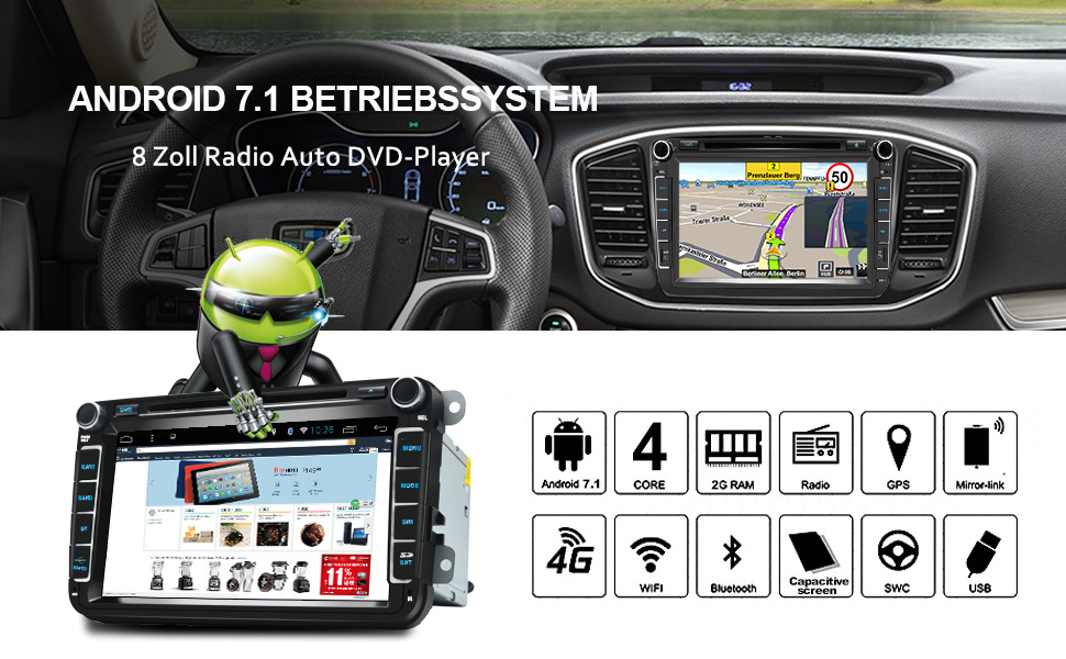 Awesafe Car Radio 2 Din Octa Core Android 7 1 32 Gb 2 Gb With Satnav 8 Inch Screen Supports Bluetooth Wi Fi Subwoofer Usb For Volkswagen Seat Škoda Jetta Golf Passat Polo Auto