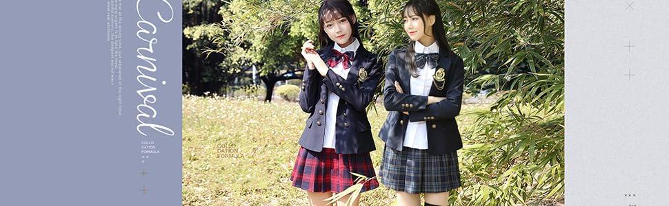URSFUR Mädchen Japan Kostüm Langärmelige Anzug Cosplay Uniform Anime