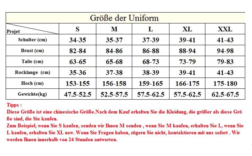 Größe der Schule Uniform