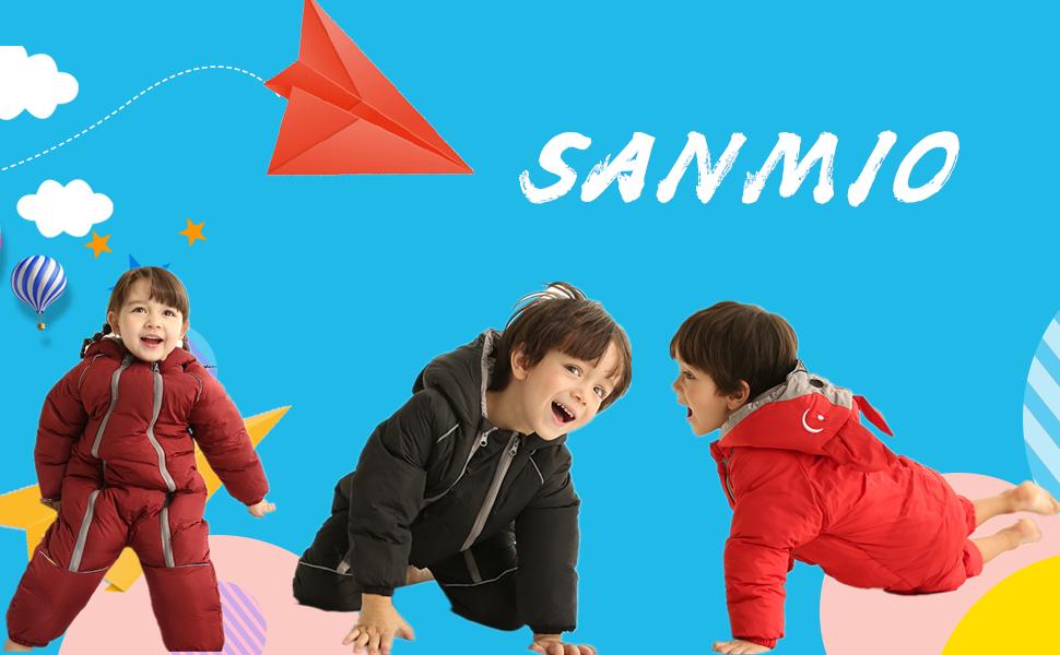 SANMIO Baby Schneeanz/üge Winter Overall mit Kapuze Baumwolle Strampler Spielanzug M/ädchen Jungen Jumpsuit