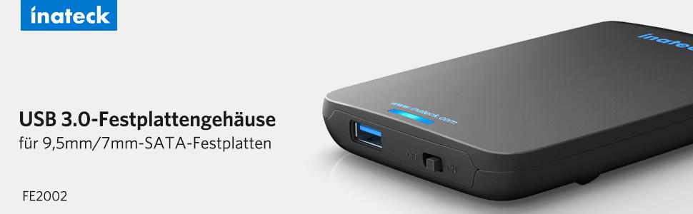 USB 3.0-Festplattengehäuse für 9,5 mm / 7 mm-SATA-Festplatten
