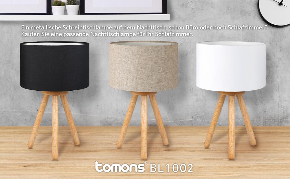 Tomons Nachttischlampe, Minimalistischer Stil, Sanftes Licht, Lampenschirm  Aus Polyester, Höhe 39 Cm, Geeignet Für Schlafzimmer Mit ...