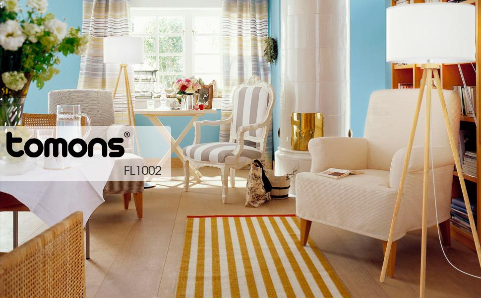 tomons stehlampe stativ aus holz f r das wohnzimmer schlafzimmer 148 cm h he ebay. Black Bedroom Furniture Sets. Home Design Ideas
